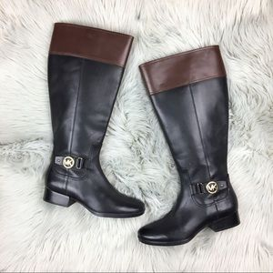 Michael Kors Harland Riding Boots Black Brown